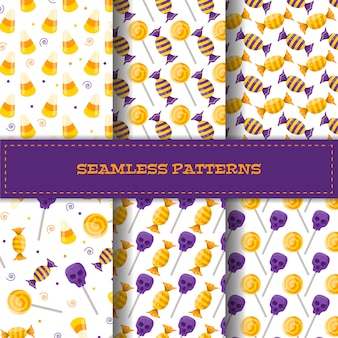 Set of seamless patterns with cartoon candies.