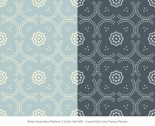 Set of seamless patterns with curve dot frame flower