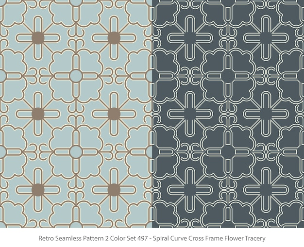Set of seamless patterns with curve frame flower tracery