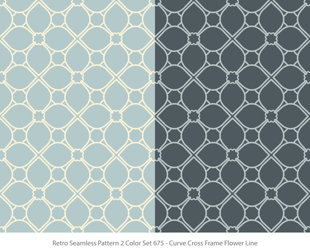 Set of seamless patterns with curve frame flower