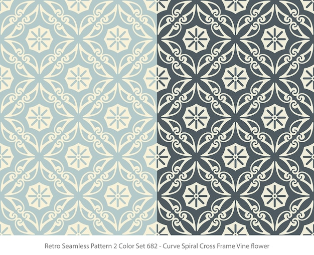 Set of seamless patterns with curve frame vine flower