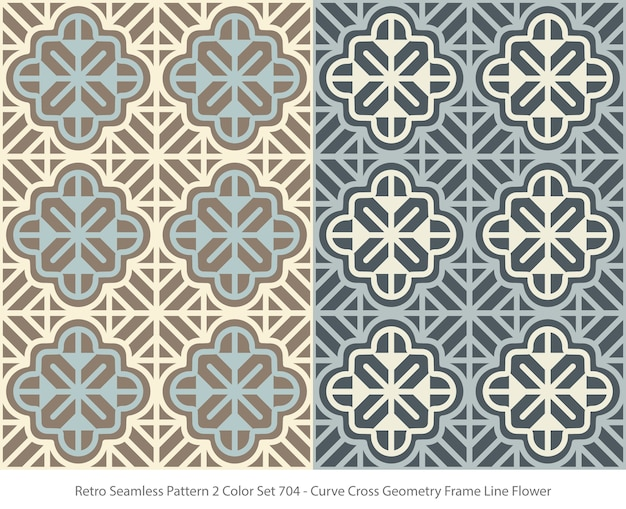 Set of seamless patterns with curve geometry frame flower