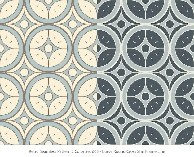 Set of seamless patterns with curve round star frame