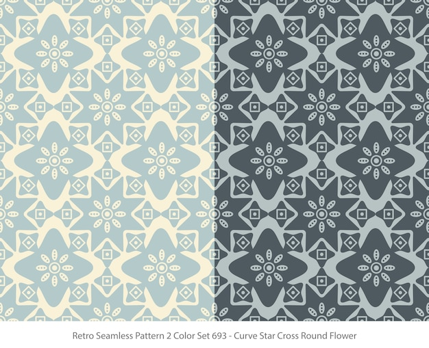 Set of seamless patterns with curve star round flower