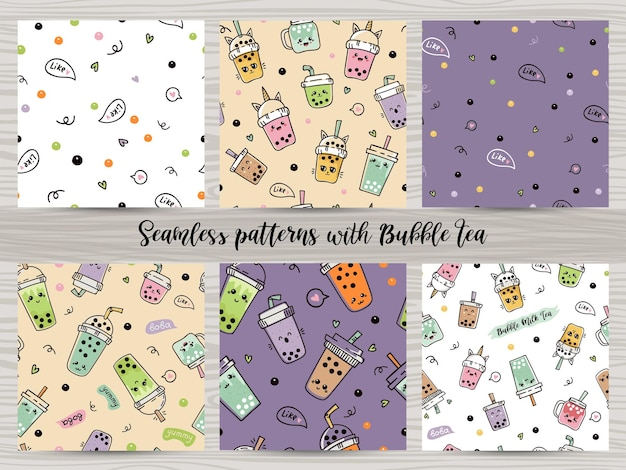 Set of seamless patterns with cute bubble tea or pearl tea.