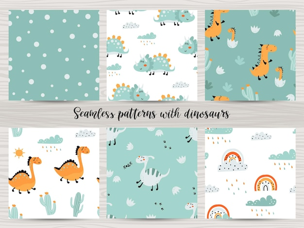 Set of seamless patterns with cute dinosaurs