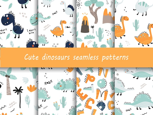 Set of seamless patterns with cute dinosaurs.