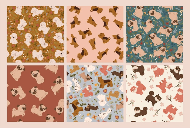 Set of seamless patterns with cute dogs