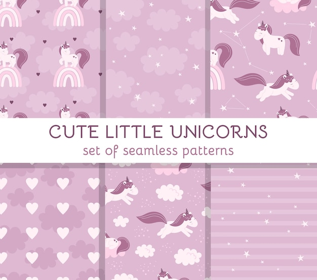 Set seamless patterns with cute fairy unicorns, clouds, stars and rainbows. decor for a nursery