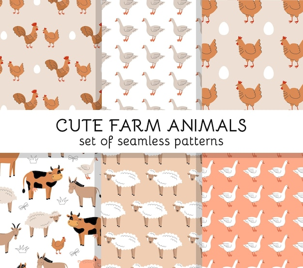 Set of seamless patterns with cute farm animals and birds