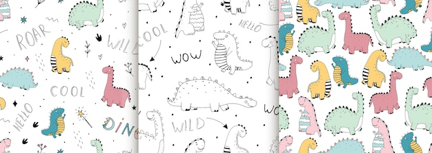 Set of seamless patterns with cute linear dinosaurs, lettering