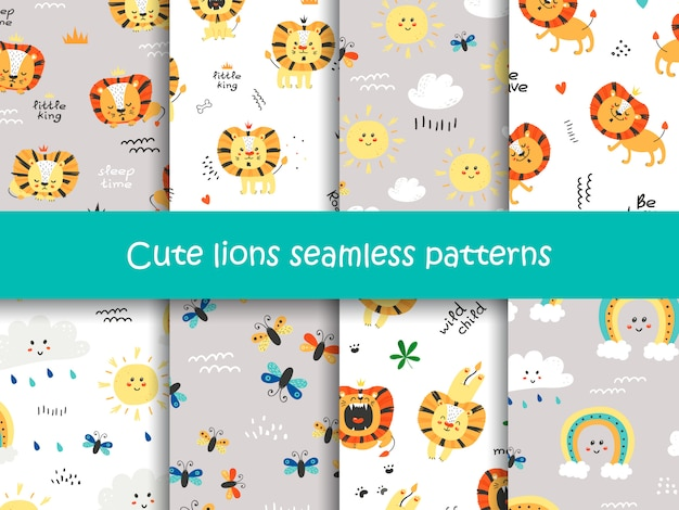 Set of seamless patterns with cute lions