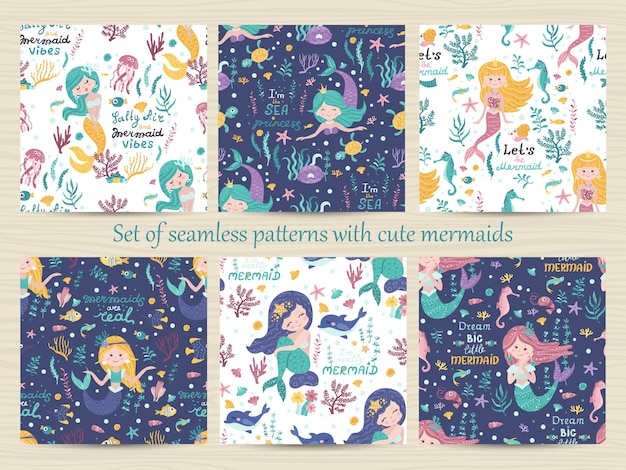 Set of seamless patterns with cute mermaid