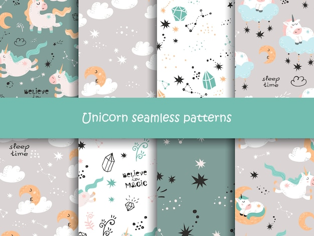 Set of seamless patterns with cute unicorns, stars, moons and crystals