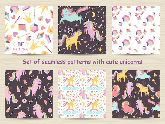 Set of seamless patterns with cute unicorns