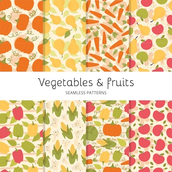 Set of seamless patterns with cute vegetables and fruit