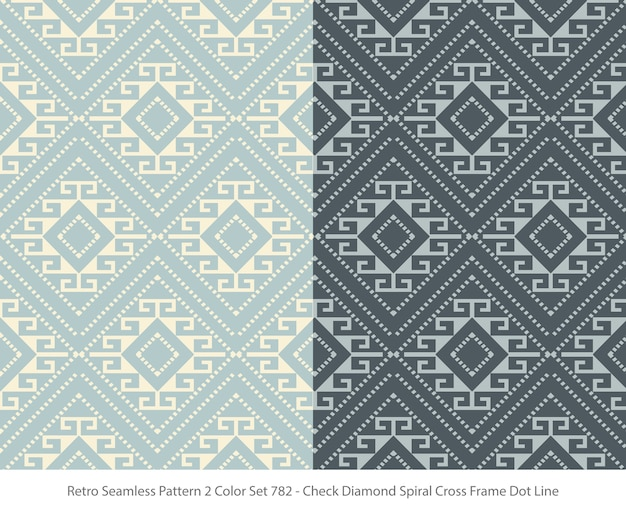 Set of seamless patterns with diamond frame dot
