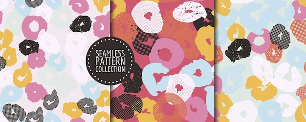 Set of seamless patterns with different shapes and textures