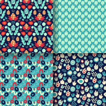 Set of seamless patterns with dinosaur eggs, footprints, abstract textures with blue and red neon. for dino prints of children's textiles, paper for dino scrapbooking, packaging. vector illustration.