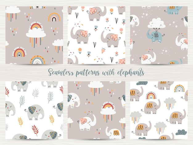 Set of seamless patterns with elephants