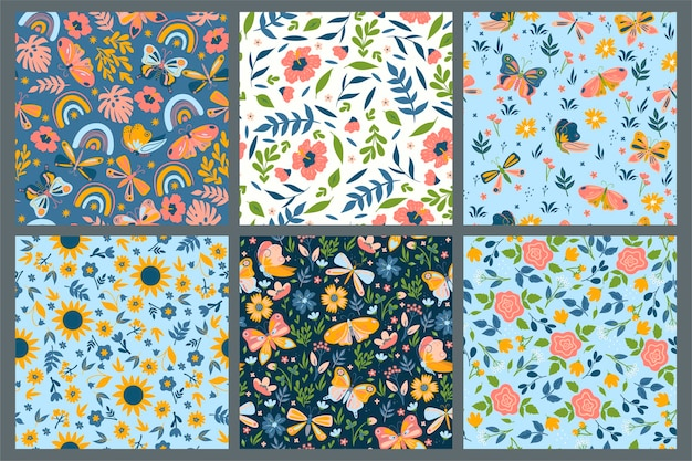 Set of seamless patterns with flowers and butterflies