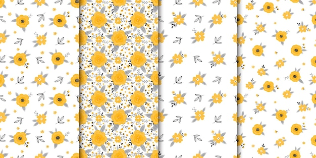 Set of seamless patterns with flowers and leaves on a white background