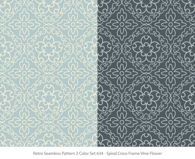 Set of seamless patterns with frame vine flower