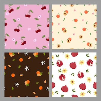Set of seamless patterns with fruits.