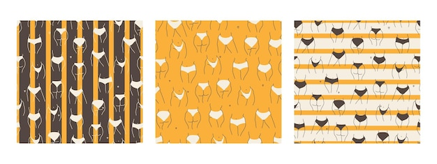 Set of seamless patterns with hips of the plus size models contour of a female plump or fat body