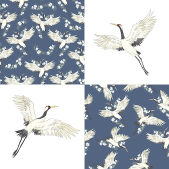 Set of seamless patterns with japanese cranes