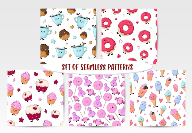 Set of seamless patterns with kawaii sweet food