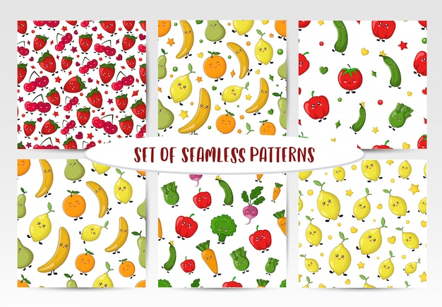 Set of seamless patterns with kawaii vegetables, fruit and berries