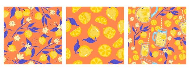 Set of seamless patterns with lemonade and lemons