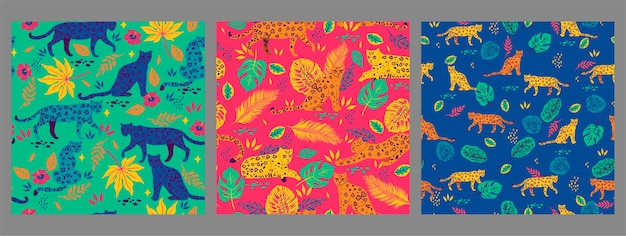 Set of seamless patterns with leopards and tropical leaves