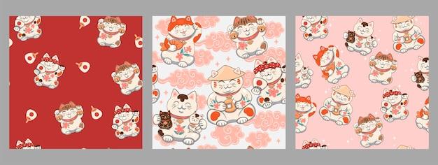 Set of seamless patterns with maneki-neko.