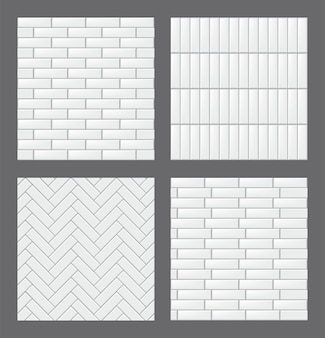 Set of seamless patterns with modern rectangular white tiles. realistic textures collection. vector illustration.