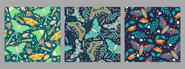 Set of seamless patterns with moths.