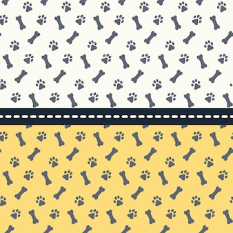 Set of seamless patterns with paws and bones. footprints dogs. vector illustration.