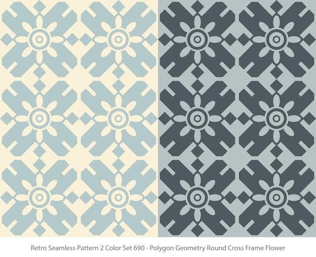 Set of seamless patterns with polygon geometry round frame flower