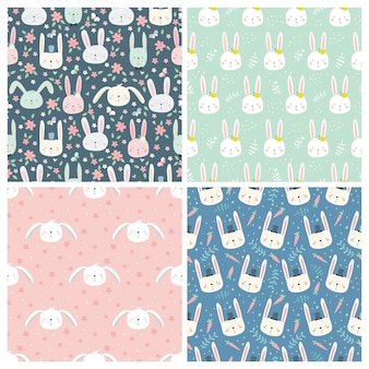 Set of seamless patterns with rabbits