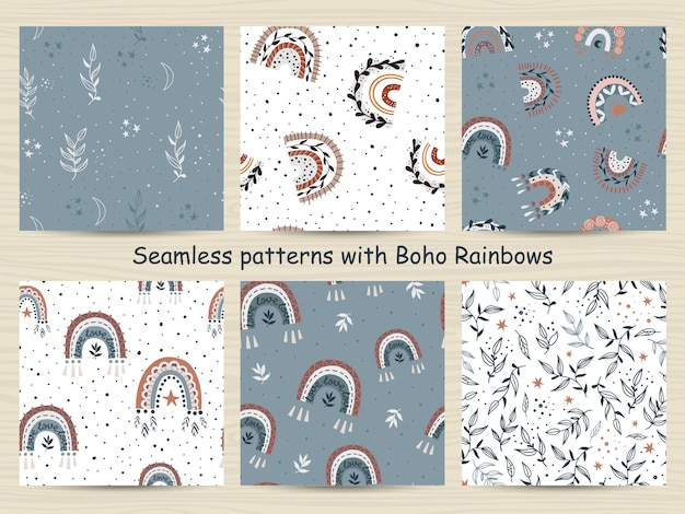 Set of seamless patterns with rainbows in bohemian style