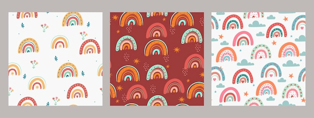 Set of seamless patterns with rainbows in boho style.