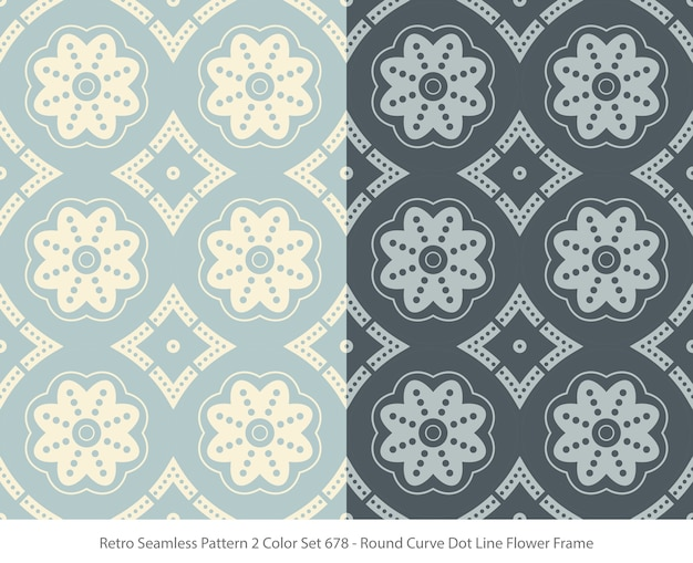 Set of seamless patterns with round curve dot flower frame