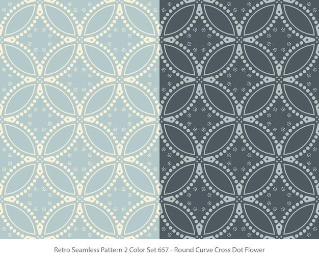 Set of seamless patterns with round curve dot flower