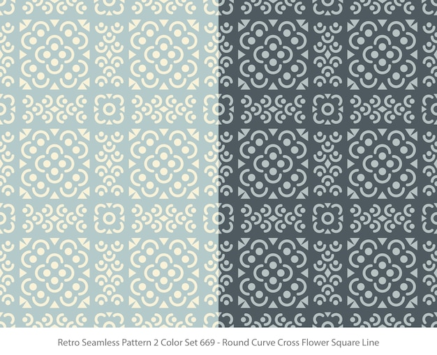 Set of seamless patterns with round curve flower square