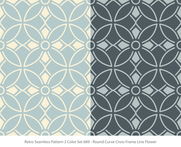 Set of seamless patterns with round curve frame flower