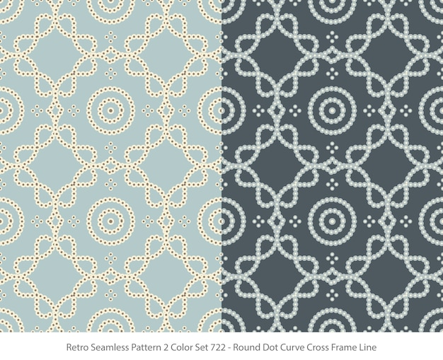 Set of seamless patterns with round dot curve frame