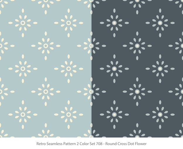 Set of seamless patterns with round dot flower