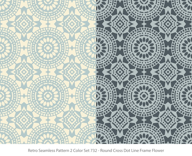 Set of seamless patterns with round dot frame flower