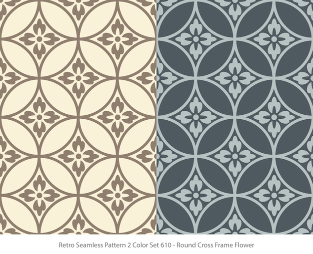 Set of seamless patterns with round frame flower